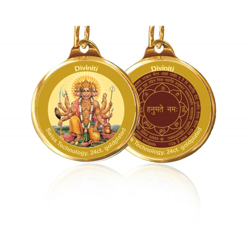 PENDANT DOUBLE SIDED SIZE 18MM PANCHMUKHI HANUMAN & YANTRA