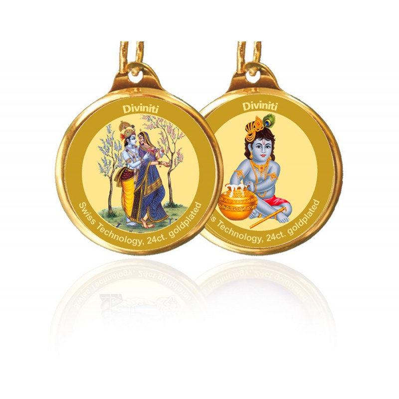 PENDANT DOUBLE SIDED SIZE 18MM RADHA KRISHNA & LADDU GOPAL