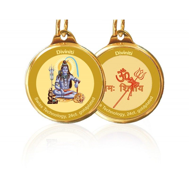 24K GOLD PLATED PENDANT DOUBLE SIDED SIZE 18MM SHIVA & OM