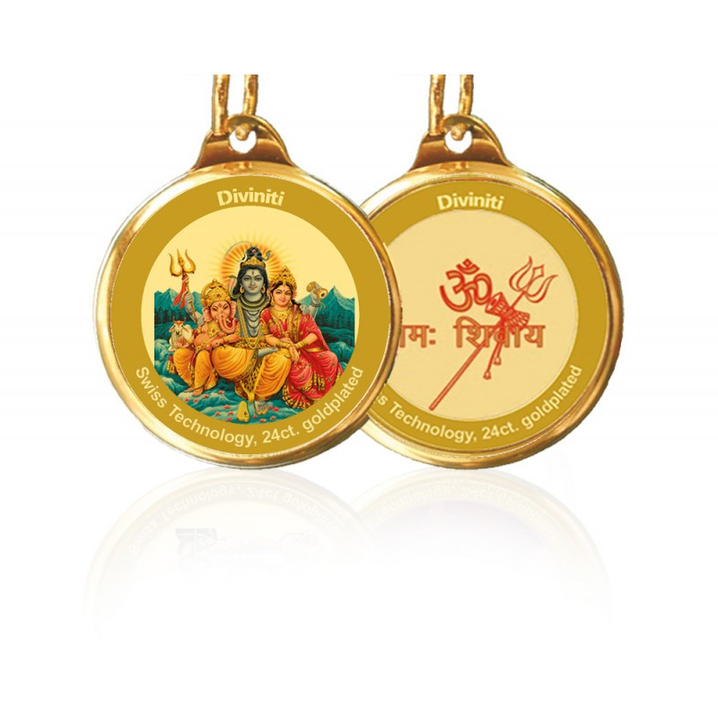 24K GOLD PLATED PENDANT DOUBLE SIDED SIZE 18MM SHIV PARIVAR & OM