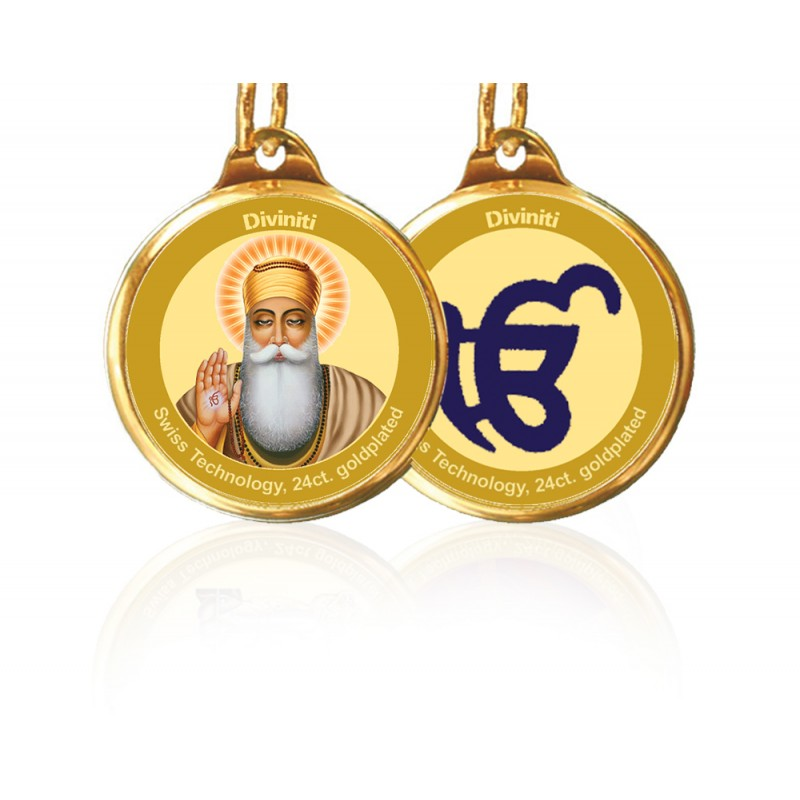 24K GOLD PLATED PENDANT DOUBLE SIDED SIZE 22MM GURUNANAK & EK OMKAR