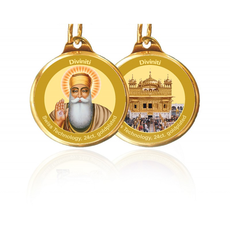 24K GOLD PLATED PENDANT DOUBLE SIDED SIZE 22MM GURU NANAK & GOLDEN TEMPLE