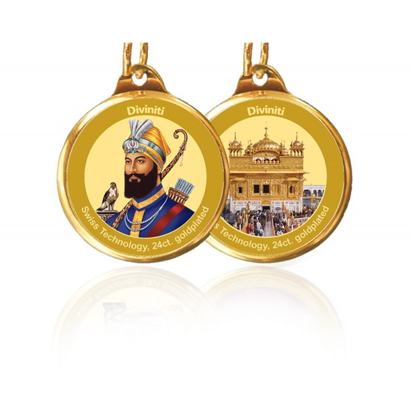 24K GOLD PLATED PENDANT DOUBLE SIDED SIZE 22MM GURU GOBIND SINGH & GOLDEN TEMPLE