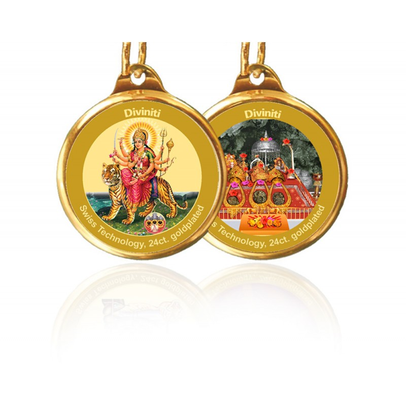 24K GOLD PLATED PENDANT DOUBLE SIDED SIZE 22MM DURGA & MATA KA DARBAR NEW