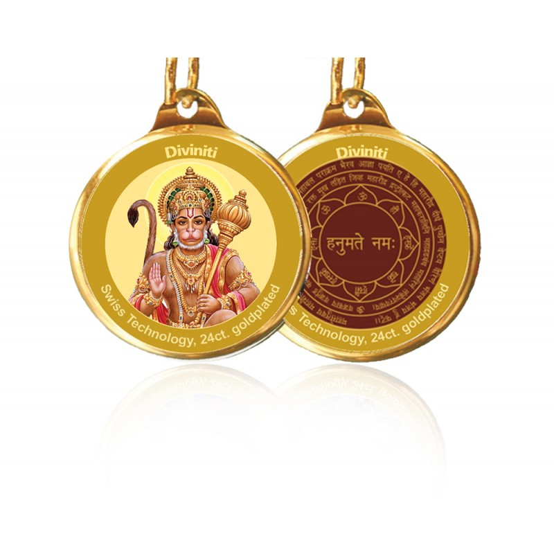 24K GOLD PLATED PENDANT DOUBLE SIDED SIZE 28MM HANUMAN & YANTRA