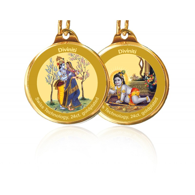 PENDANT DOUBLE SIDED SIZE 28MM RADHA KRISHNA & LADDU GOPAL
