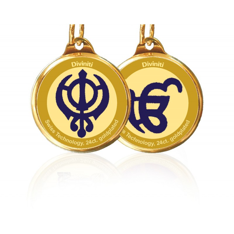 PENDANT DOUBLE SIDED SIZE 28MM KHANDA SAHIB & EK OMKAR