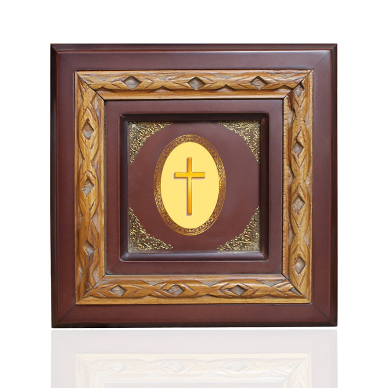 24K GOLD PLATED WOODEN FRAME SIZE 1D ROYALE COLOR HOLY CROSS