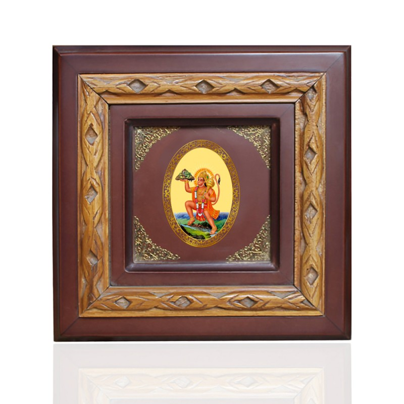 WOODEN FRAME SIZE 1D ROYALE COLOR   OVAL HANUMAN WITH MOUNTAIN