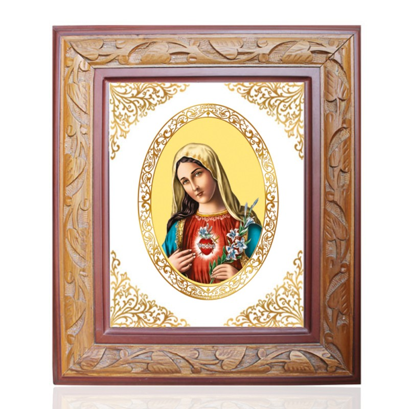 WOODEN FRAME SIZE 1 ROYALE COLOR   OVAL MOTHER MARY