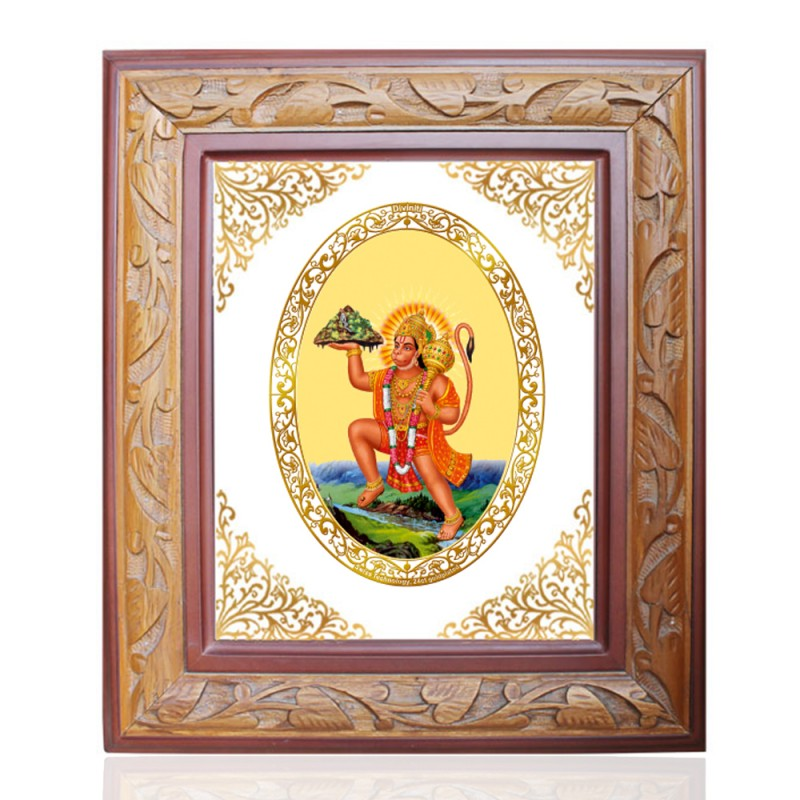 WOODEN FRAME SIZE 1 ROYALE COLOR   OVAL HANUMAN WITH MOUNTAIN