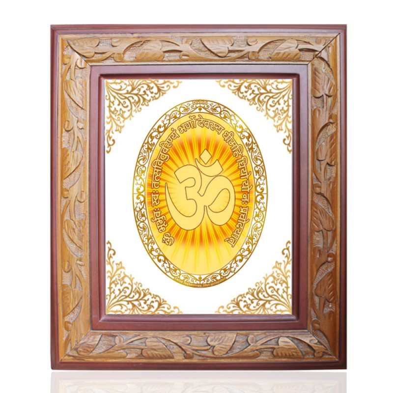 WOODEN FRAME SIZE 2.5 ROYALE COLOR   OVAL OM GAYATRI MANTRA