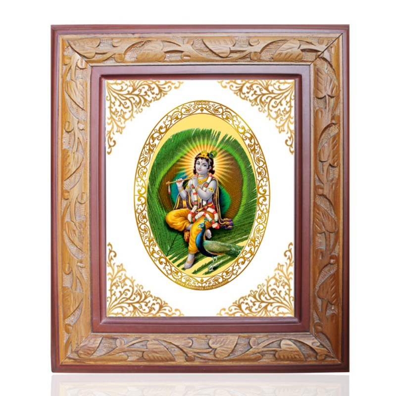 WOODEN FRAME SIZE 2.5 ROYALE COLOR   OVAL FEATHER KRISHNA