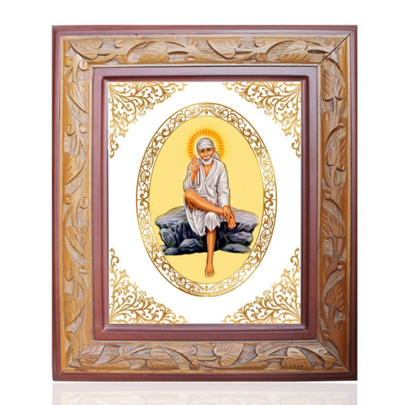 WOODEN FRAME SIZE 3 ROYALE COLOR   OVAL SAI BABA ROCKPOSE