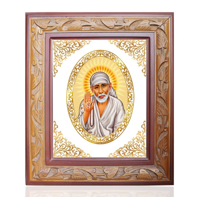 24K GOLD PLATED WOODEN FRAME SIZE 3 ROYALE COLOR SAI BABA-1