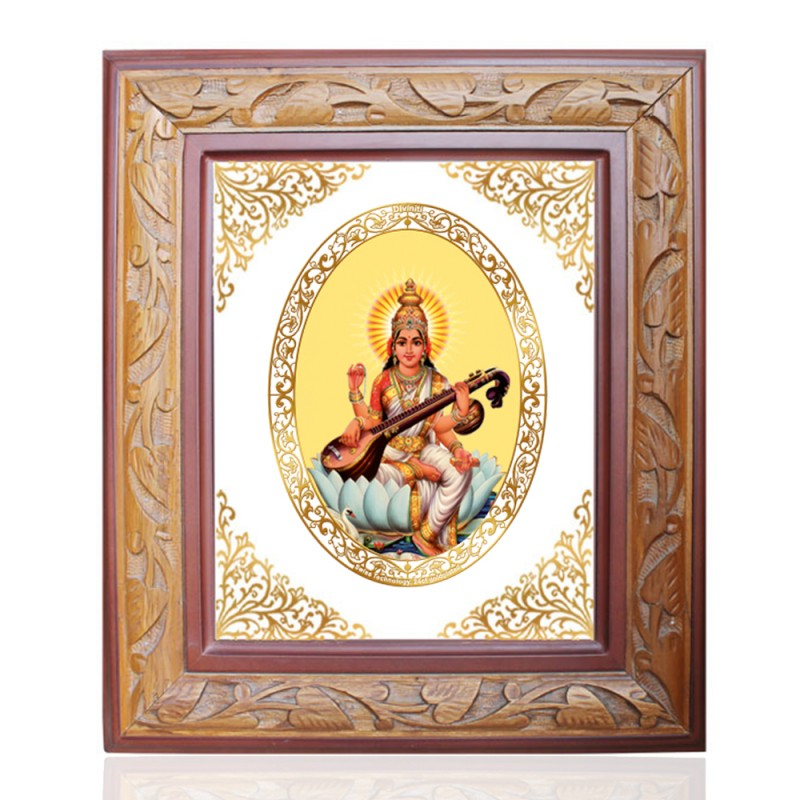 WOODEN FRAME SIZE 3 ROYALE COLOR   OVAL SARASWATI