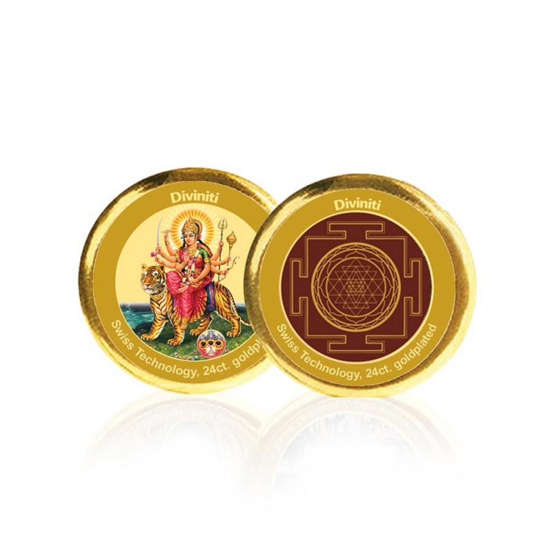 24K GOLD PLATED COIN DOUBLE SIDED SIZE 3C DURGA & YANTRA