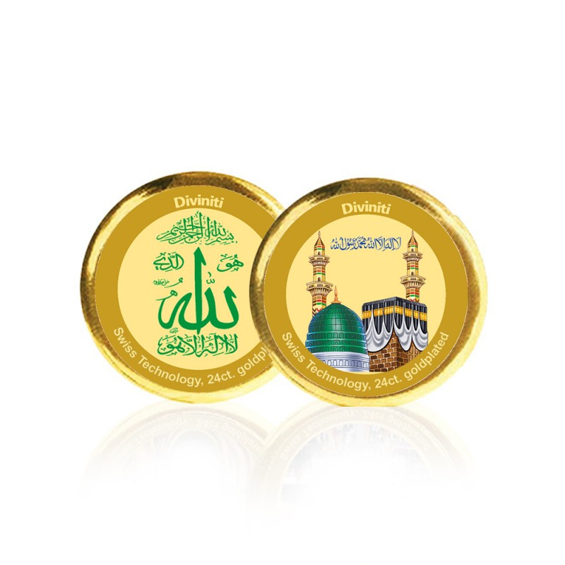 24K GOLD PLATED COIN DOUBLE SIDED SIZE 3C ALLAH & MECCA MADINA