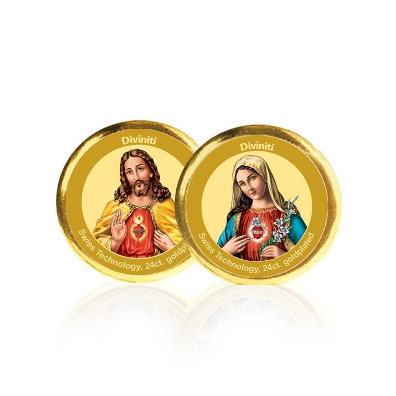 24K GOLD PLATED COIN DOUBLE SIDED SIZE 3C JESUS & MOTHER MARY