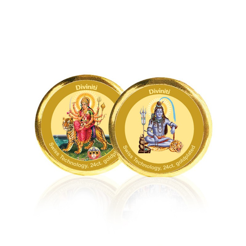 24K GOLD PLATED COIN DOUBLE SIDED SIZE 3C DURGA & SHIVA
