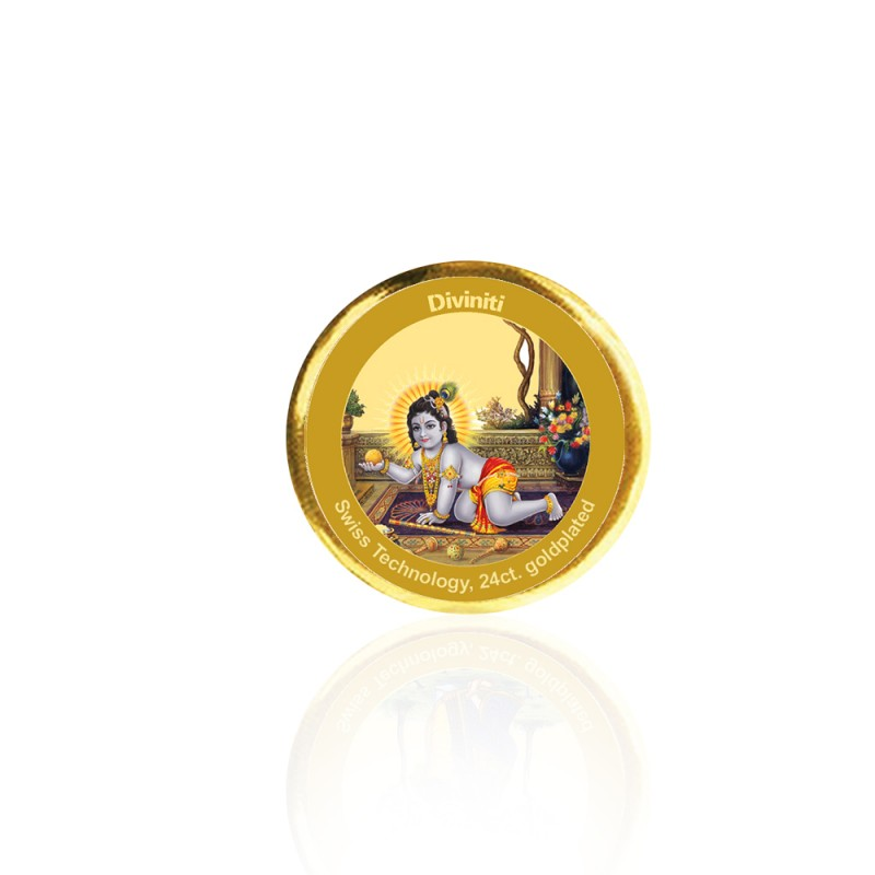 24K GOLD PLATED COIN SINGLE SIDED SIZE 3C LADDU GOPAL