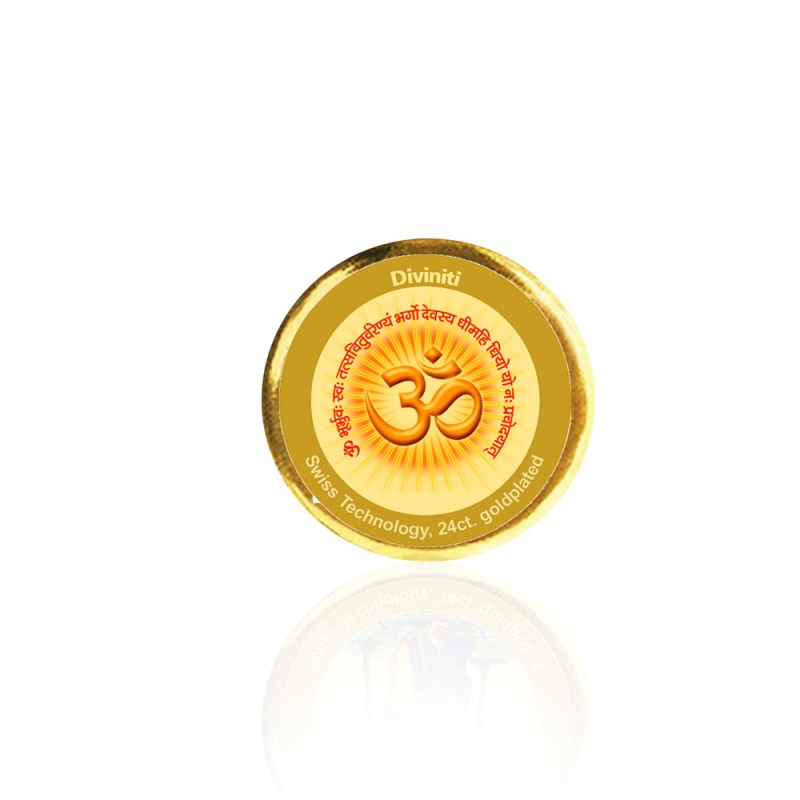 24K GOLD PLATED COIN SINGLE SIDED SIZE 3C OM GAYATRI MANTRA