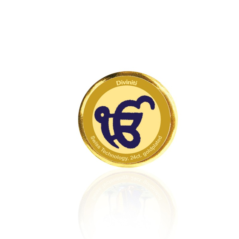 24K GOLD PLATED COIN SINGLE SIDED SIZE 3C EK OMKAR
