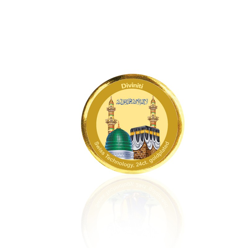 24K GOLD PLATED COIN SINGLE SIDED SIZE 3C MACCA MADINA