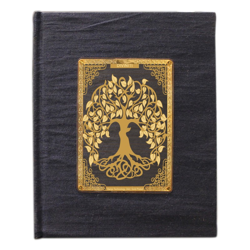 24K GOLD PLATED JOURNAL & NOTEBOOK ACRYLIC TREE OF LIFE