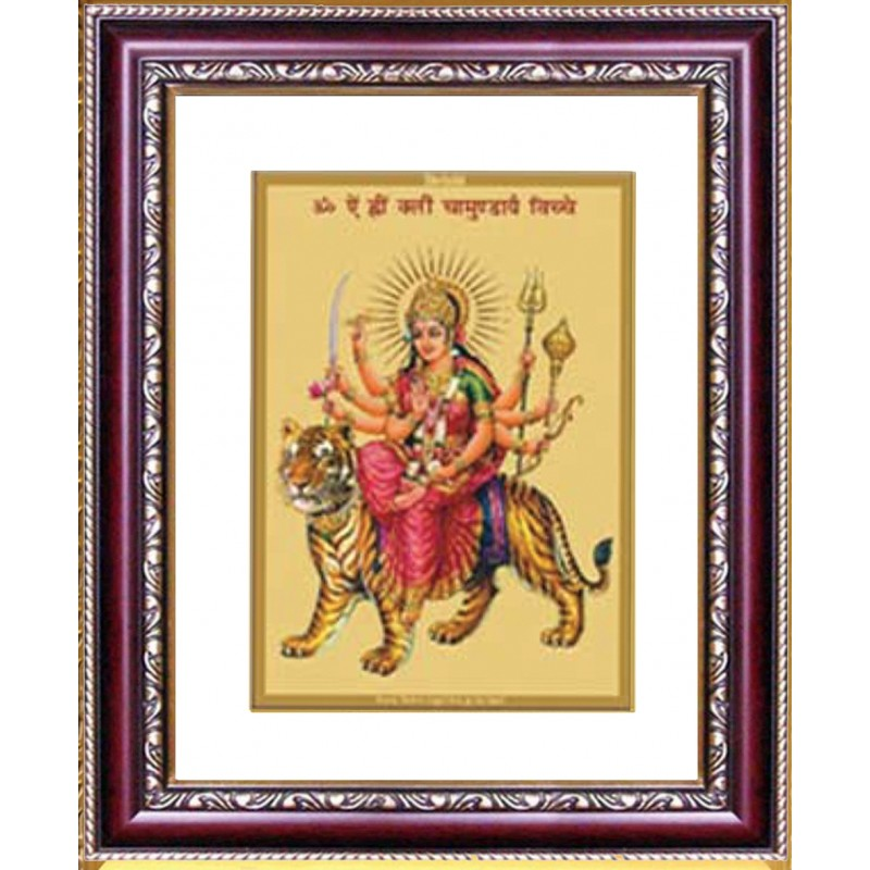 24K GOLD PLATED DG FRAME 105 SIZE 2 CLASSIC COLOR DURGA WITH MANTRA