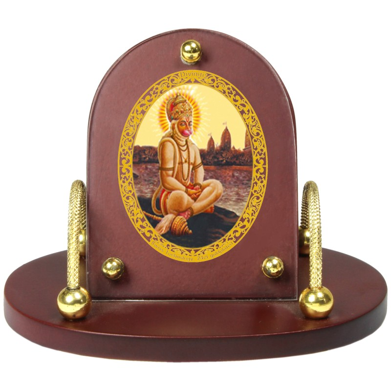 24K GOLD PLATED MDF 7D+ ROYALE CLASSIC OVAL HANUMAN WITH PRAYER
