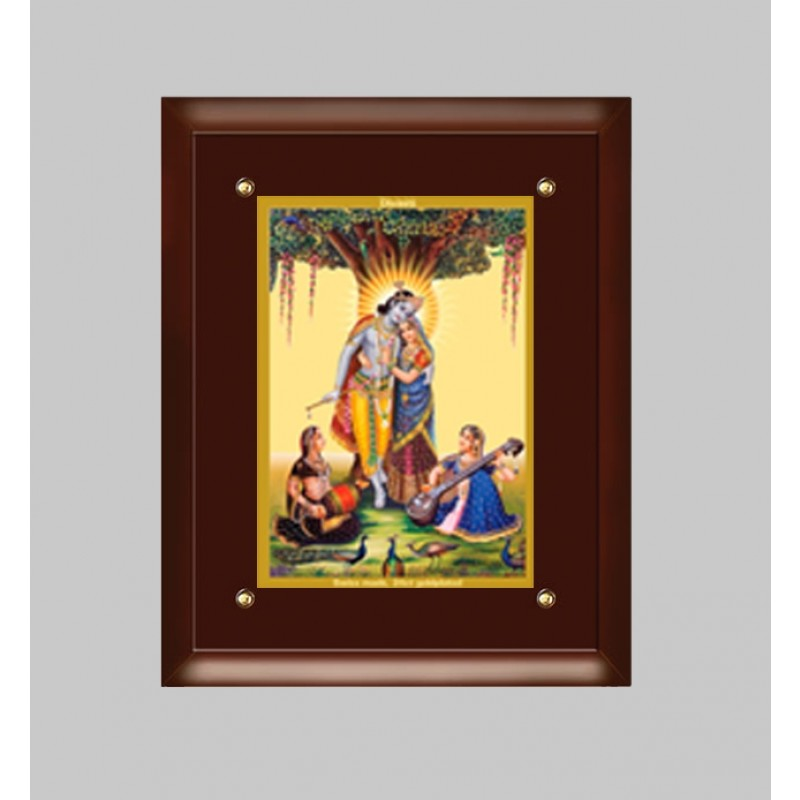 24K GOLD PLATED MDF FRAME SIZE 4 CLASSIC COLOR RADHA KRISHNA -2