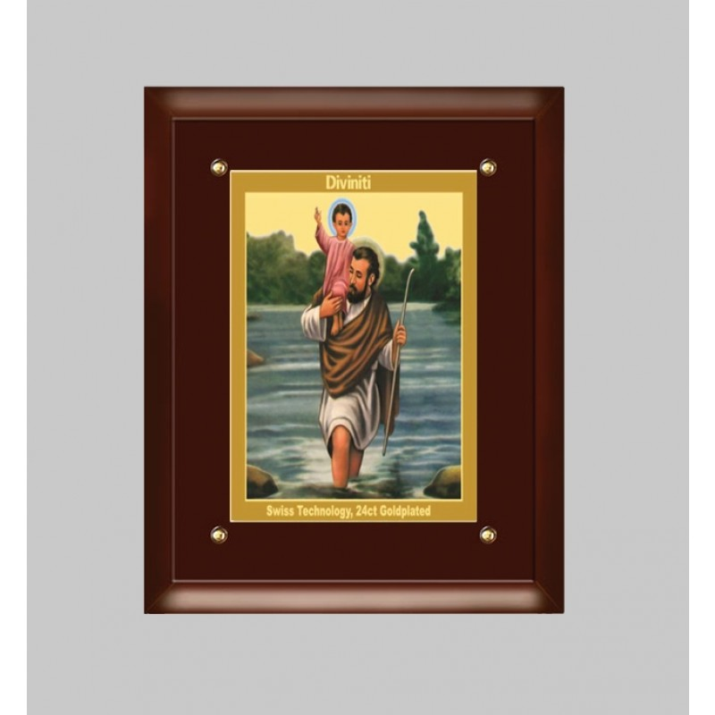 24K GOLD PLATED MDF FRAME  SIZE 3 CLASSIC COLOR SAINT CHRISTOPHER