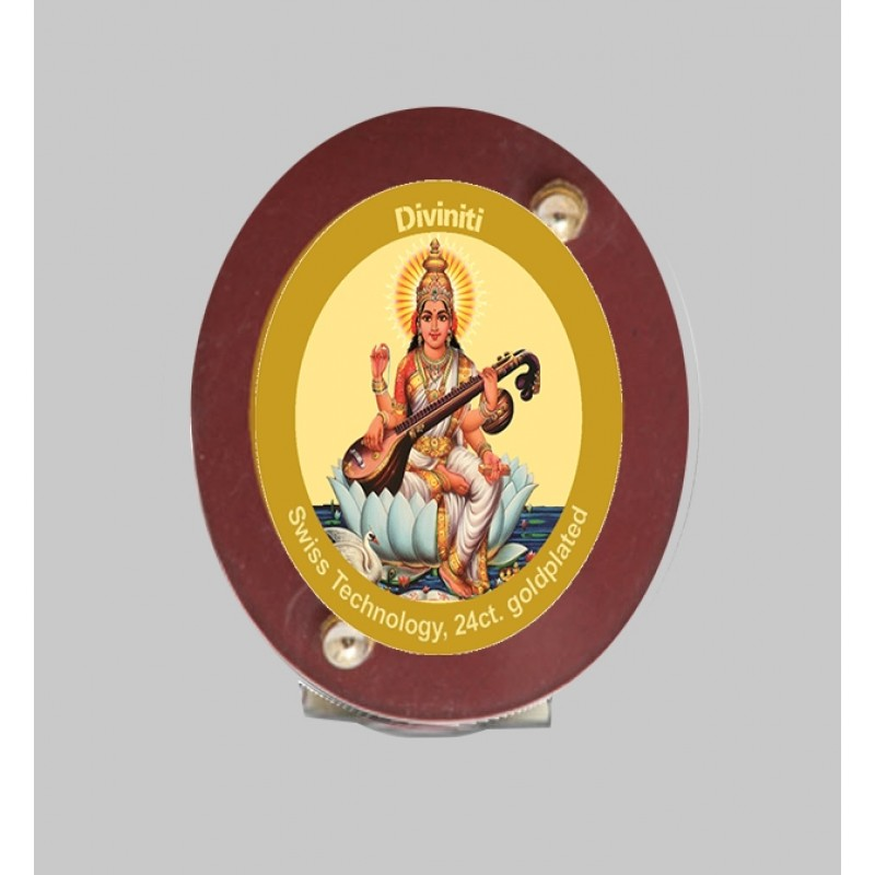 24K GOLD PLATED MDF 1D CLASSIC COLOR OVAL SARASWATI