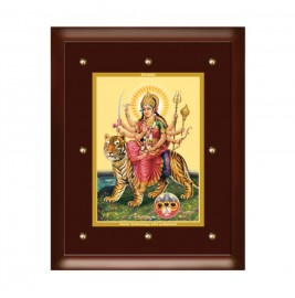 24K GOLD PLATED MDF FRAME SIZE 5 CLASSIC COLOR DURGA - VAISHNO DEVI