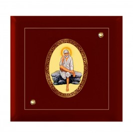 24K GOLD PLATED MDF FRAME SIZE 7D ROYALE COLOR SAI BABA ROCKPOSE