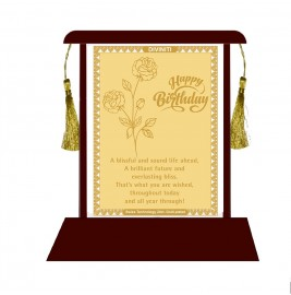 24K GOLD PLATED MDF Table Top Frame with Birthday Wishes