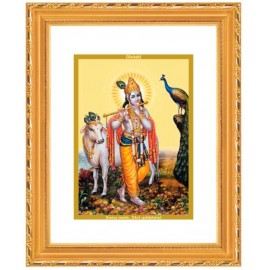 DG FRAME 103 SIZE 2 ROYALE  GOLD  OVAL KRISHNA WITH COW