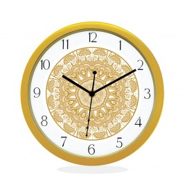 WALL CLOCK GOLD ROUND NUMERIC  FLORAL