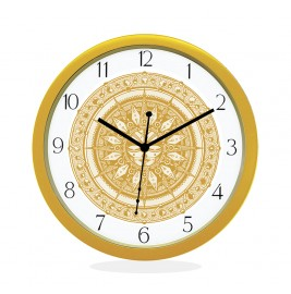 WALL CLOCK GOLD ROUND NUMERIC  SUN