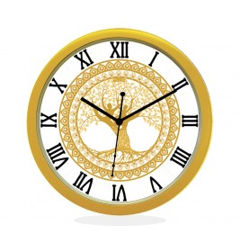 24K GOLD PLATED WALL CLOCK GOLD ROUND ROMAN  TREE OF LIFE