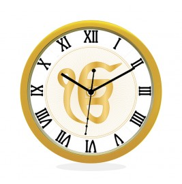 24K GOLD PLATED WALL CLOCK GOLD ROUND ROMAN  EK OMKAR