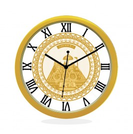 WALL CLOCK GOLD ROUND ROMAN  GOLDEN TEMPLE