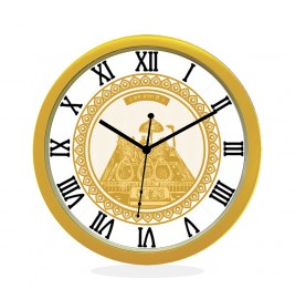 24K GOLD PLATED WALL CLOCK GOLD ROUND ROMAN  MATA KA DARBAR