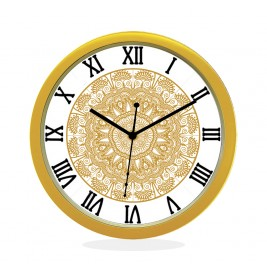 WALL CLOCK GOLD ROUND ROMAN  FLORAL