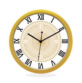 WALL CLOCK GOLD ROUND ROMAN  NET