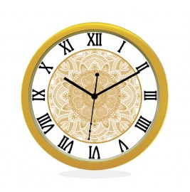 WALL CLOCK GOLD ROUND ROMAN  HEART