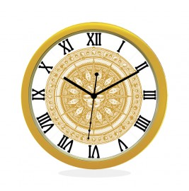 WALL CLOCK GOLD ROUND ROMAN  SUN