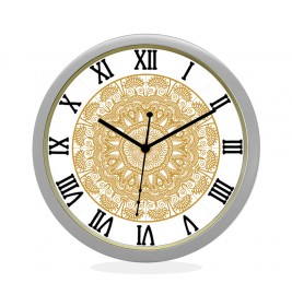 24K GOLD PLATED WALL CLOCK SILVER ROUND ROMAN  FLORAL