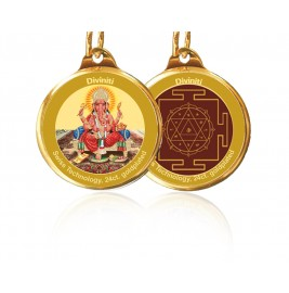 PENDANT DOUBLE SIDED SIZE 28MM GANESHA & YANTRA